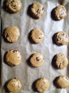 12 cookies spaced out before flattening slightly. Technically this batch makes around 14 or 15 if you don't snarf down some of the raw cookie dough..ahem...