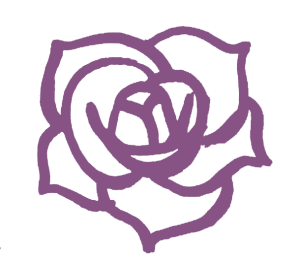 a purple line drawing of a rose