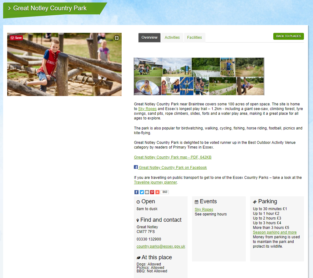 Essex Country Parks - Great Notley park example copywriting screenshot