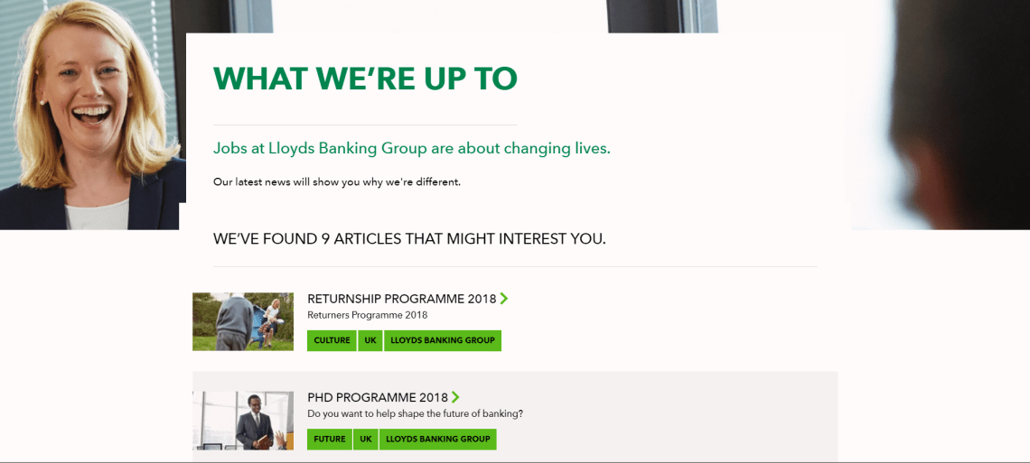Lloyds Banking Group content hub website content strategy example