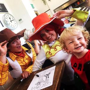 jessie woody party, jessie and woody characters, toy tea party