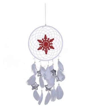 christmas dream catcher, dreamcatcher with snowflake motif, white dreamcatcher