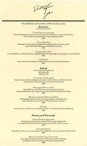 Restaurant Tyler Menu