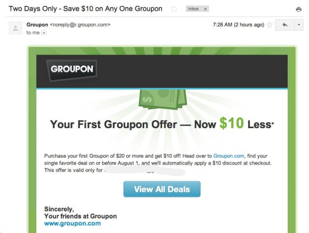 Web personalization in Groupon emails