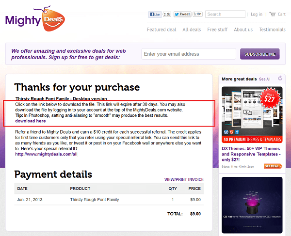 Mighty Deals Thank You Page