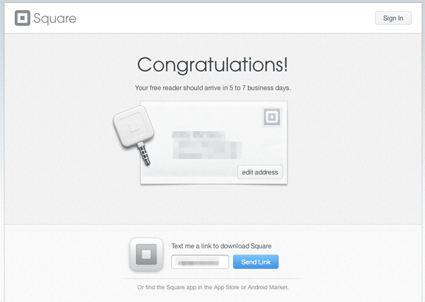 Square's thank-you page