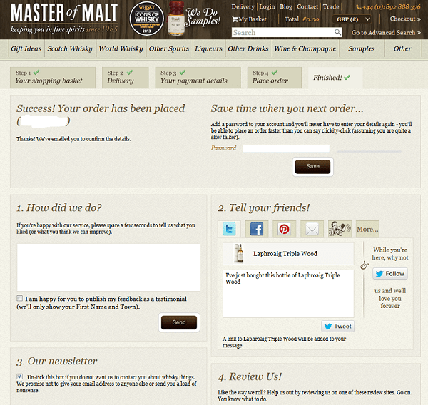 Thank you page Master of Malt