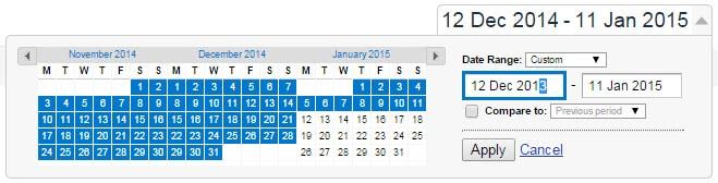 Analytics dates - change to 13 months