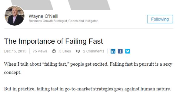 Wayne O'Neill LinkedIn post