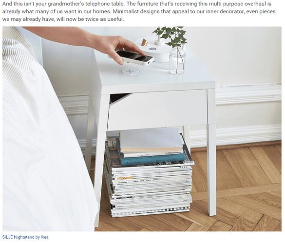 Wireless furniture article