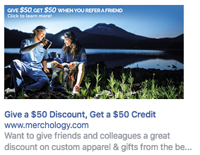 Facebook ad with copy on image