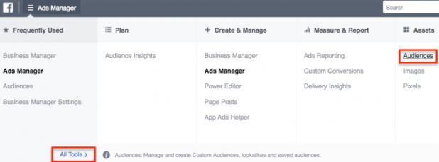 Screenshot showing where to find audiences in FB