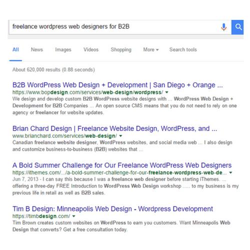 freelance worpress web design b2b