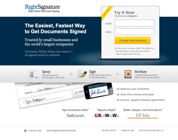 Right Signature screenshot