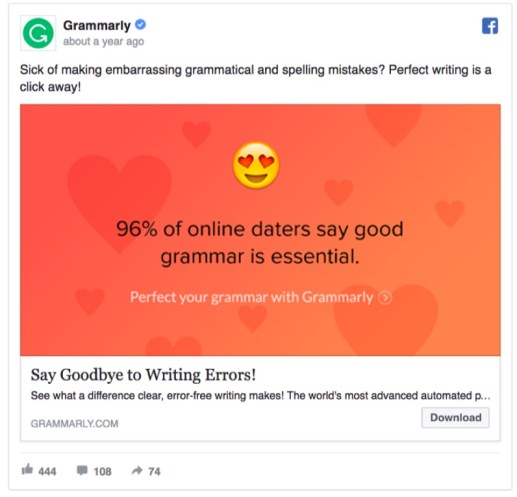 grammarly 96 percent online daters facebook ad