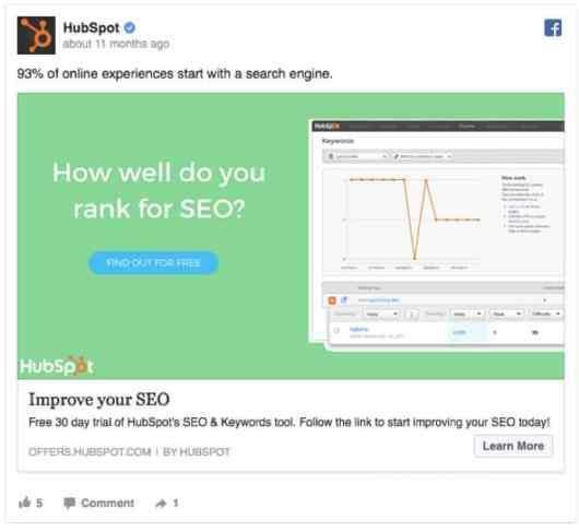 hubspot seo facebook ad