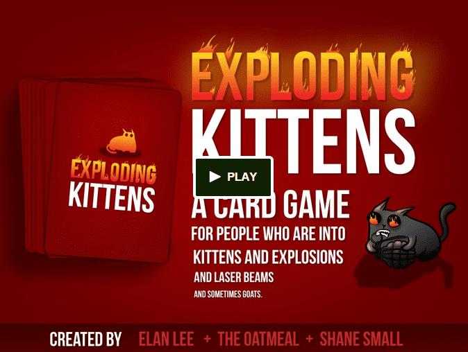 Exploding Kittens thumbnail for their Kickstarter video