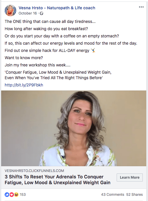 A Facebook ad example where the author didn't include all the 'whys', just the most poignant - being tired.