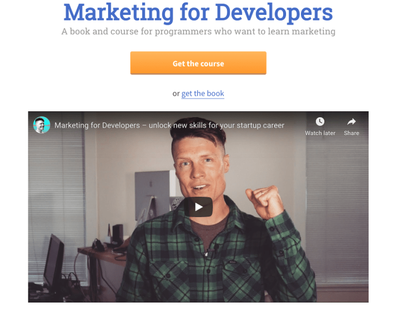 Justin Jackson's Marketing for Developers Ebook and Course