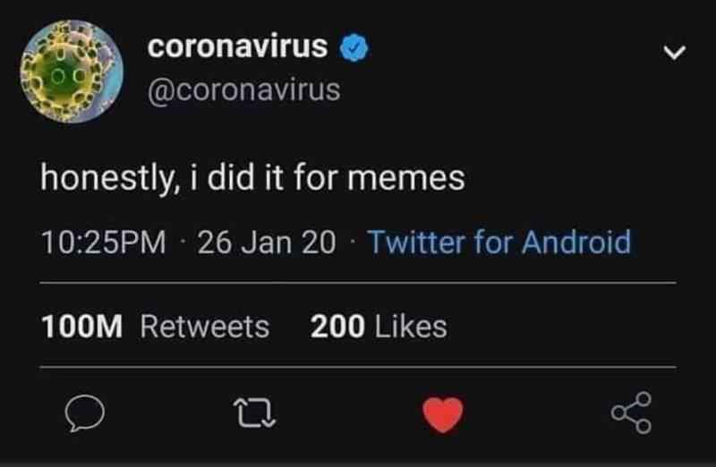 covid meme tweet by @coronavirus