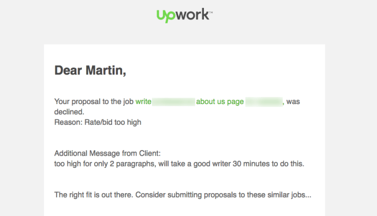 Upwork Proposal Letter Rejection
