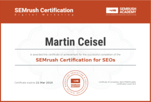 SEMRush Certification for SEOs – Martin Ceisel