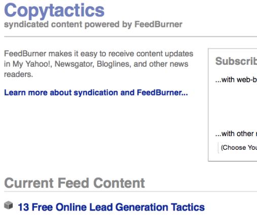 Copytactics Feedburner - Image