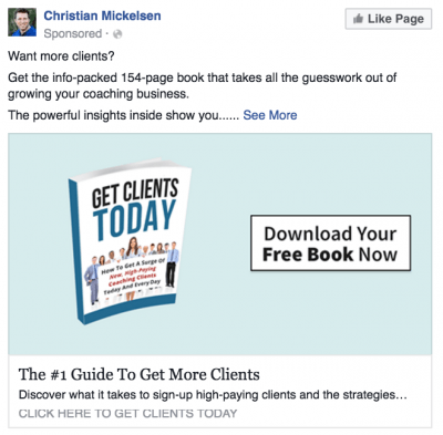 fb ad to a landing page