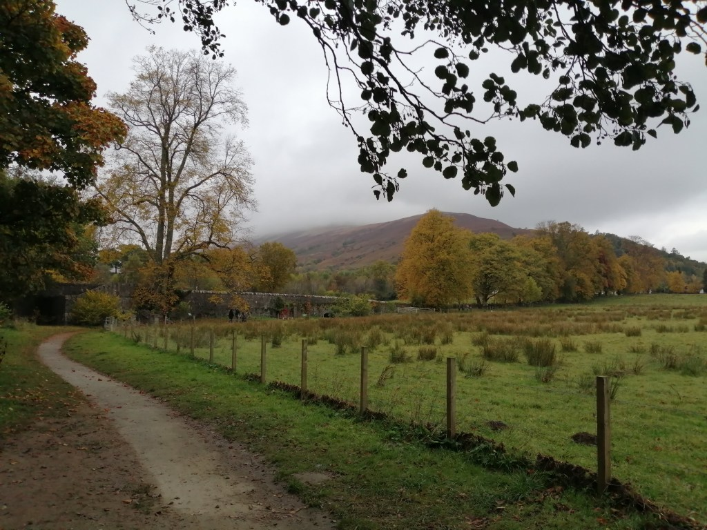 Path at Luss with trees and hills in the background