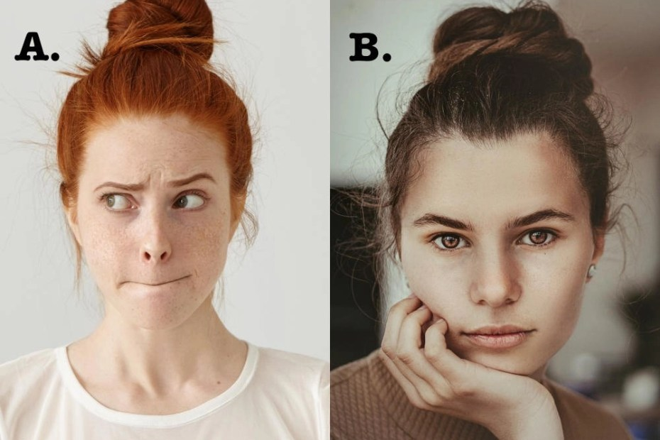 Two photos of women labeled A & B