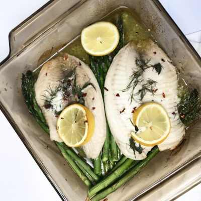 One Pan Butter Baked Tilapia with Lemon, Dill, Flaky Red Pepper and Asparagus