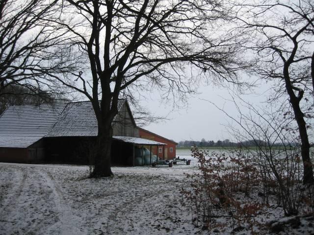 Snowy farmhouse