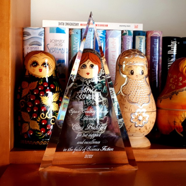 Space Cowboy Award on shelf