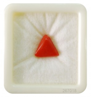Triangular red coral gemstone