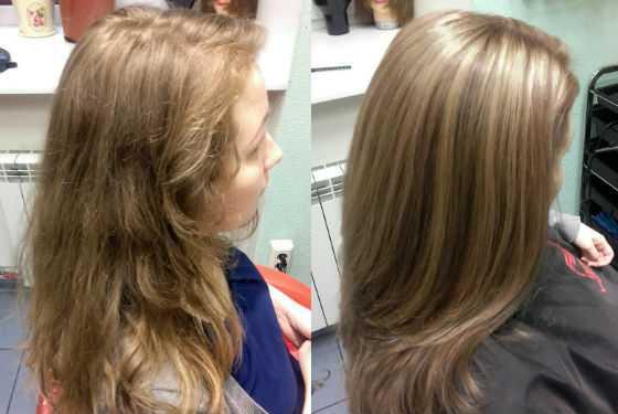 Волосы до и после окрашивания бронд
