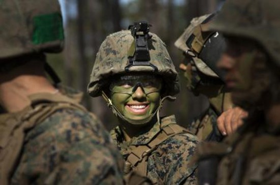 Pfc. Christina Fuentes Montenegro, of Coral Springs, Fla., and other Marines from Delta Company, Infantry Training Battalion, School of Infantry-East(U. S. Marine Corps photo by CWO2 Paul S. Mancuso/Released)
