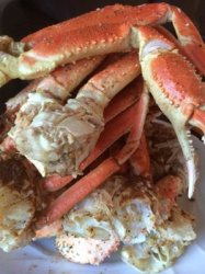 Crab legs I bought and Cajun boiled them at home.
