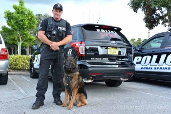 Officer Jon Banke with Thor. Thor is a three year-old Belgian Shepherd.