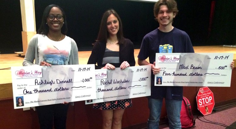 Families of Wrong-Way Accident Victims Present Students with Scholarships