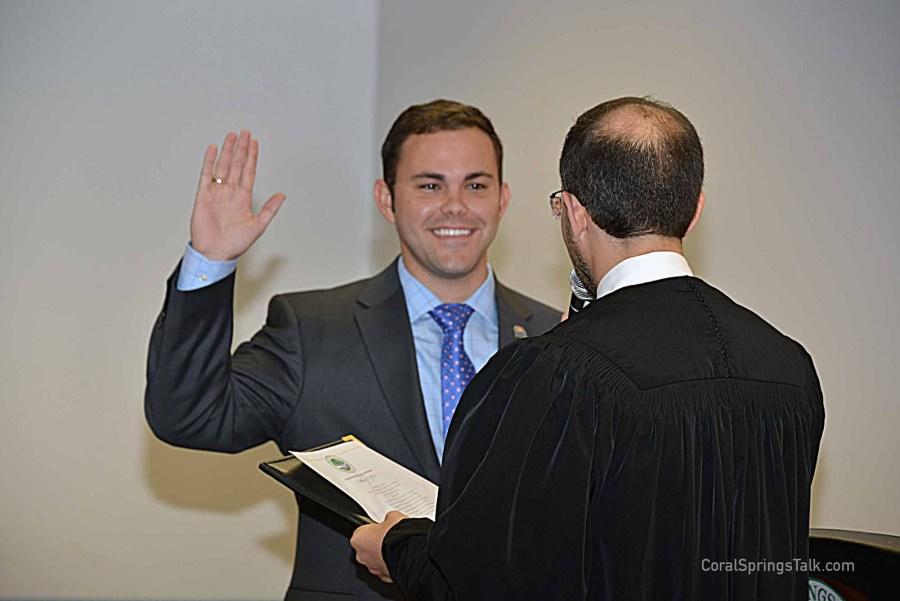 Dan Daley being sworn in  by Judge Ari Porth,. Photo by Sharon Aron Baron