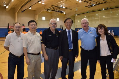 Afonso Wong and Sak Chen with the Coral Springs Chinese Cultural Association; Commissioner Lou Cimaglia; Chih-Min Tang, Commissioner of the Department of Education of Taipei City Government and Team leader of the Youth group; Mayor Skip Campbell and  Betty Shiau, Senior Secretary of the Overseas Community Affair Council of the Republic of China, Taiwan