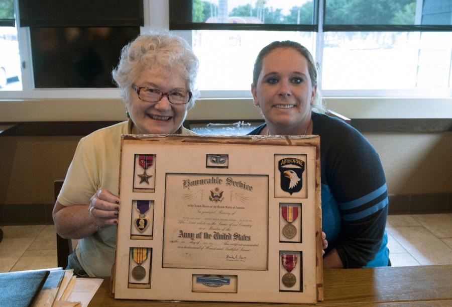 Darlene Stosik and Meghan Burns. Darlene is the sister of Vietnam Veteran Private Geoffrey Saunders.