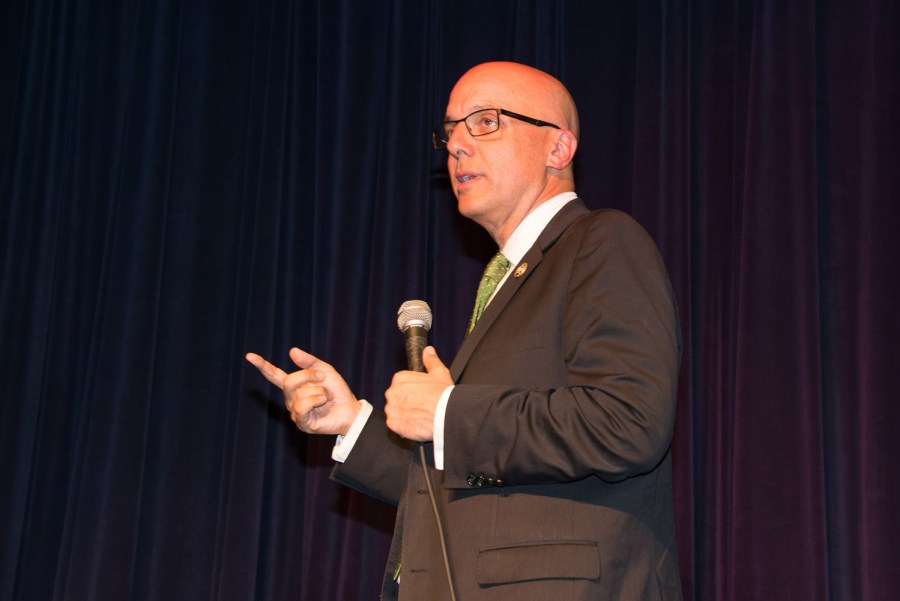 U.S. Congressman Ted Deutch announced that he opposes Iran deal at a Town Hall meeting in Coral Springs, Florida. Photo by Sharon Aron Baron