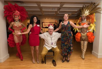"Coral Springs Mayor Skip Campbell is crowned ""King Carnival"" by Chair Laurette Homan and Co-Chair Joy Carter."