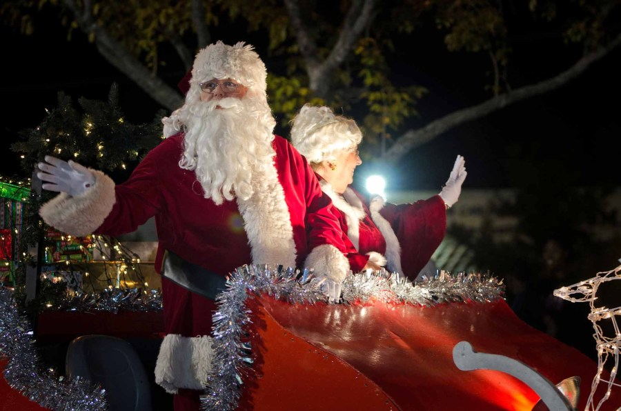 Santa Claus and Mrs Claus at last year's Holiday Parade. Photo courtesy City of Coral Springs.