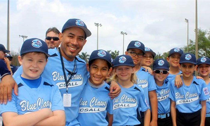 Kevin Delorbe, manager of the 2015 CSALL 10U Blue Claws with his team.