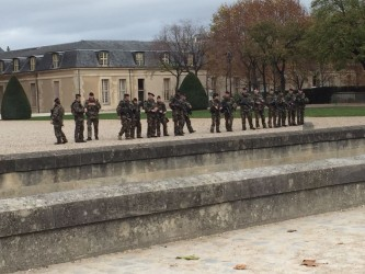 Troops in front of Les Invalides in Paris.