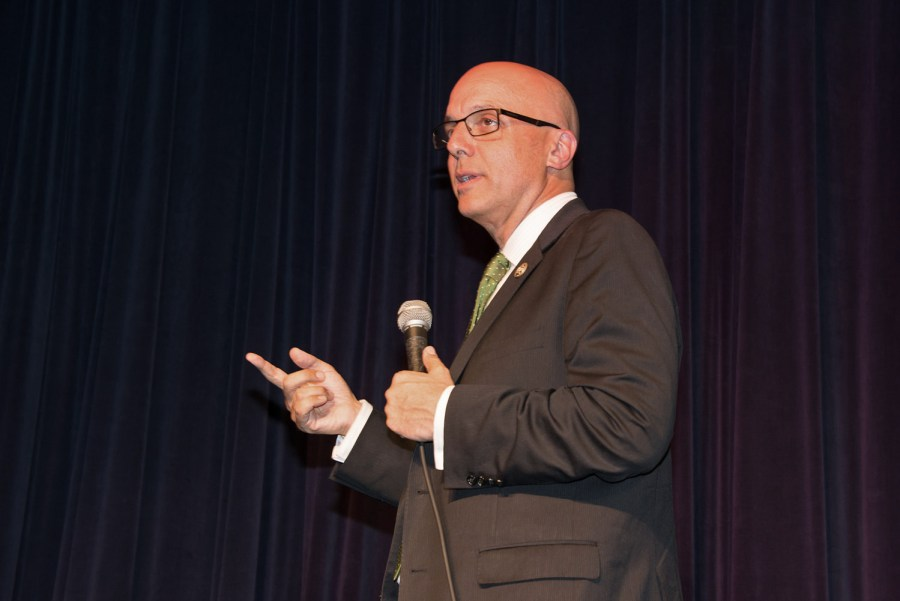 Congressman Ted Deutch at a Town Hall meeting in Coral Springs last fall. Photo by Sharon Aron Baron
