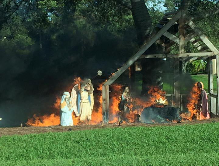 Nativity Scene Fire - Photo by Richard Troher