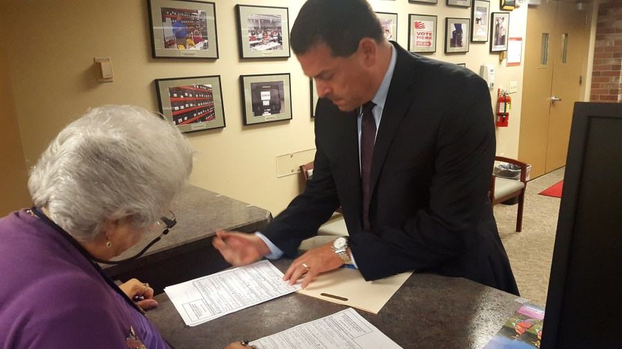 Parkland Mayor Michael Udine filing for office on Monday morning.